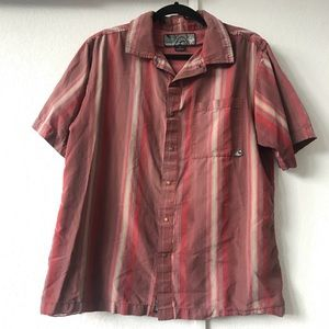 PRANA VINTAGE Distressed striped button-down red